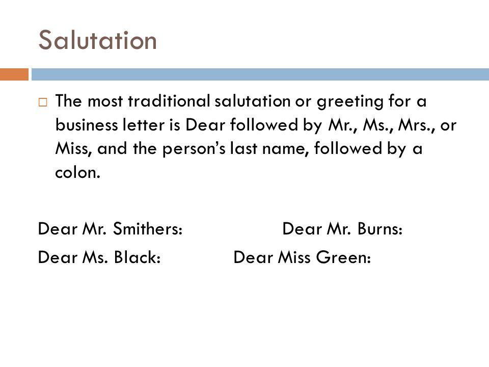 Salutation On A Business Letter from slideplayer.com