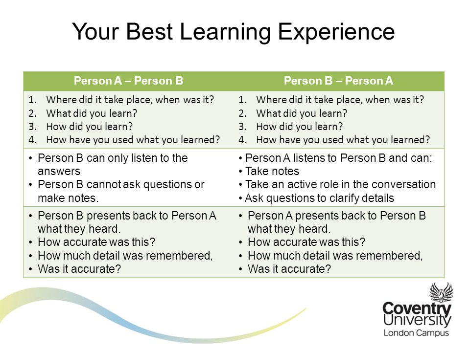 Your Best Learning Experience