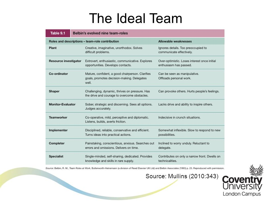 The Ideal Team Based on the view of Belbin that 'No one is perfect, but a team can be.'