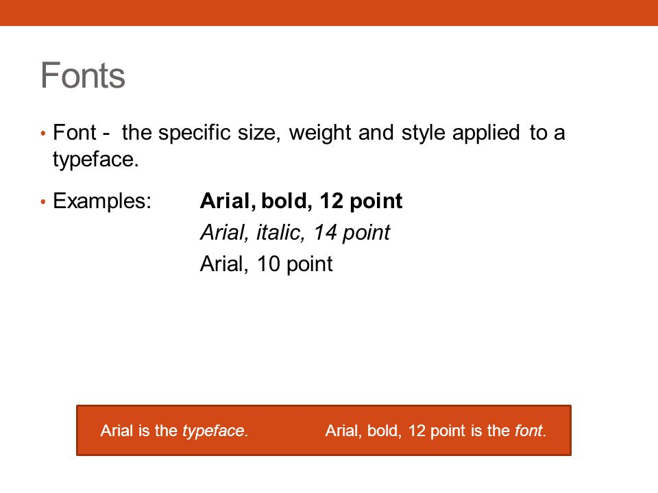 Arial is the typeface. Arial, bold, 12 point is the font.