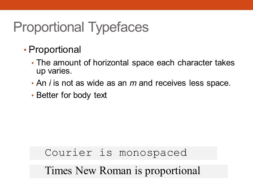 Proportional Typefaces