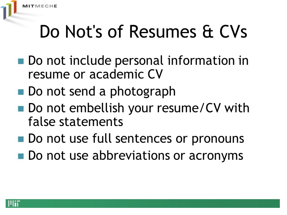 Do Not S Of Resumes U0026 CVs Do Not Include Personal Information In Resume Or  Academic