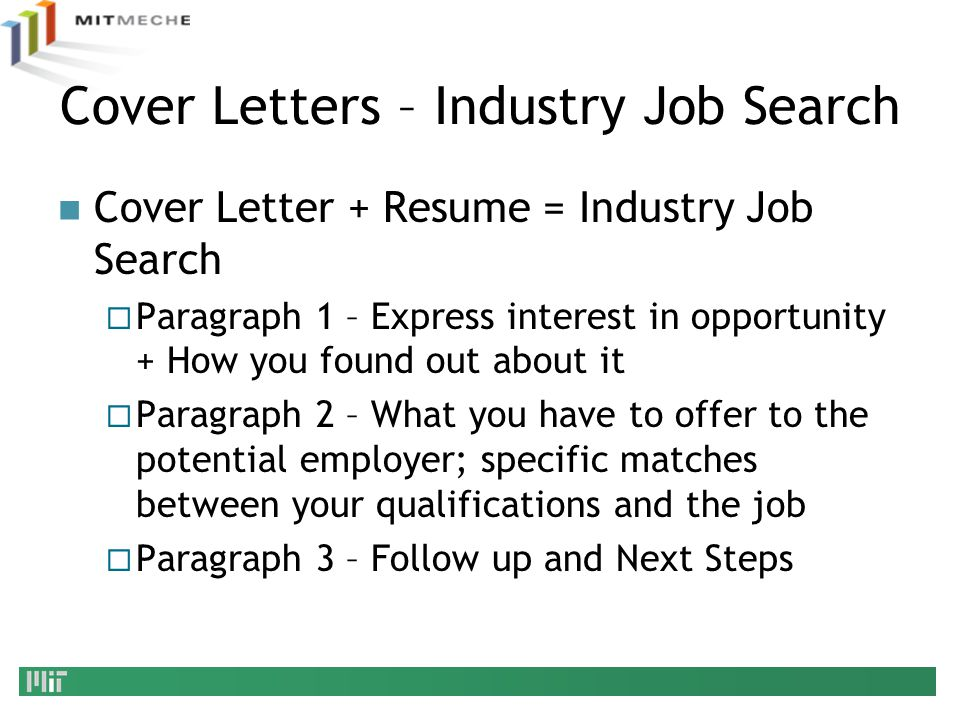 Cover Letters – Industry Job Search