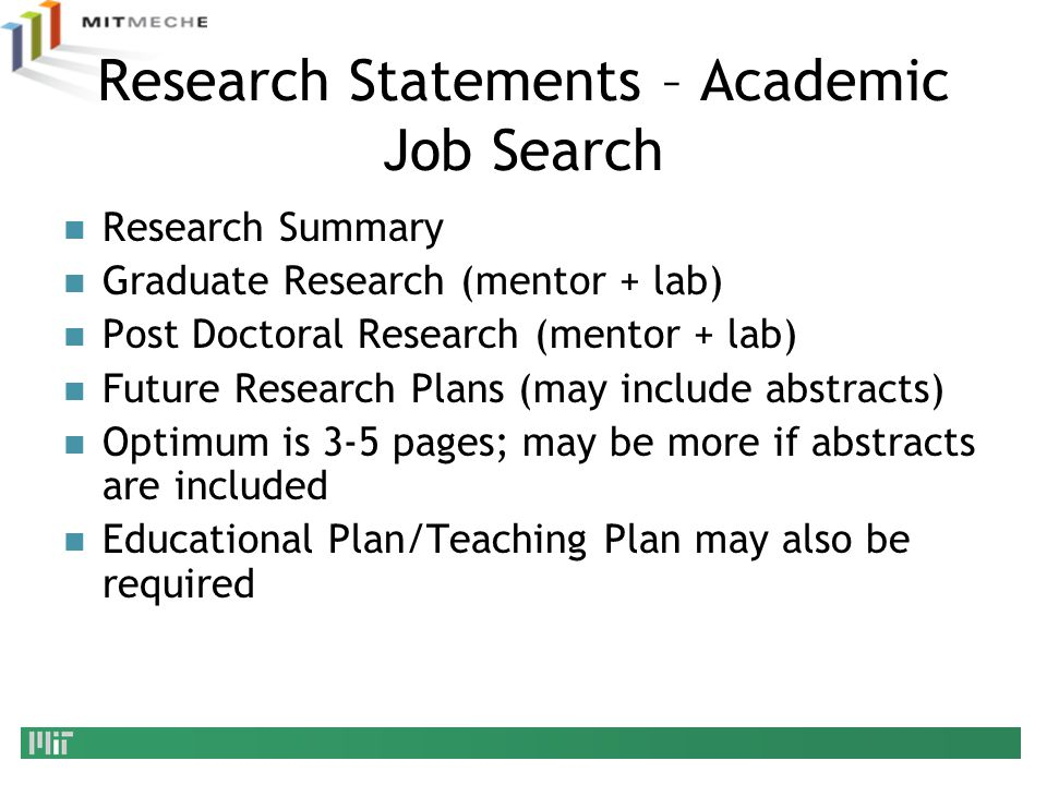 Research Statements – Academic Job Search