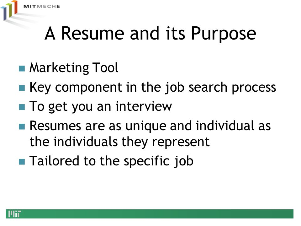 A Resume and its Purpose