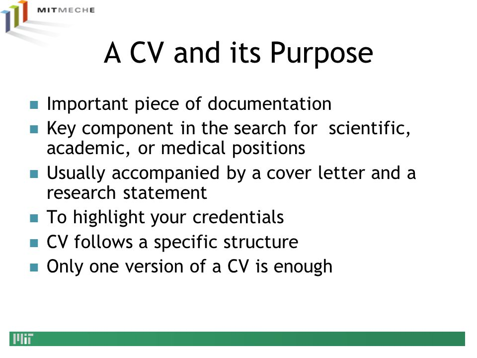 A CV and its Purpose Important piece of documentation