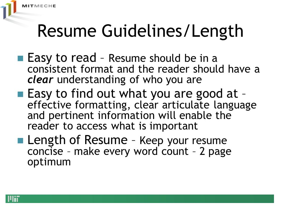 Resume Guidelines/Length