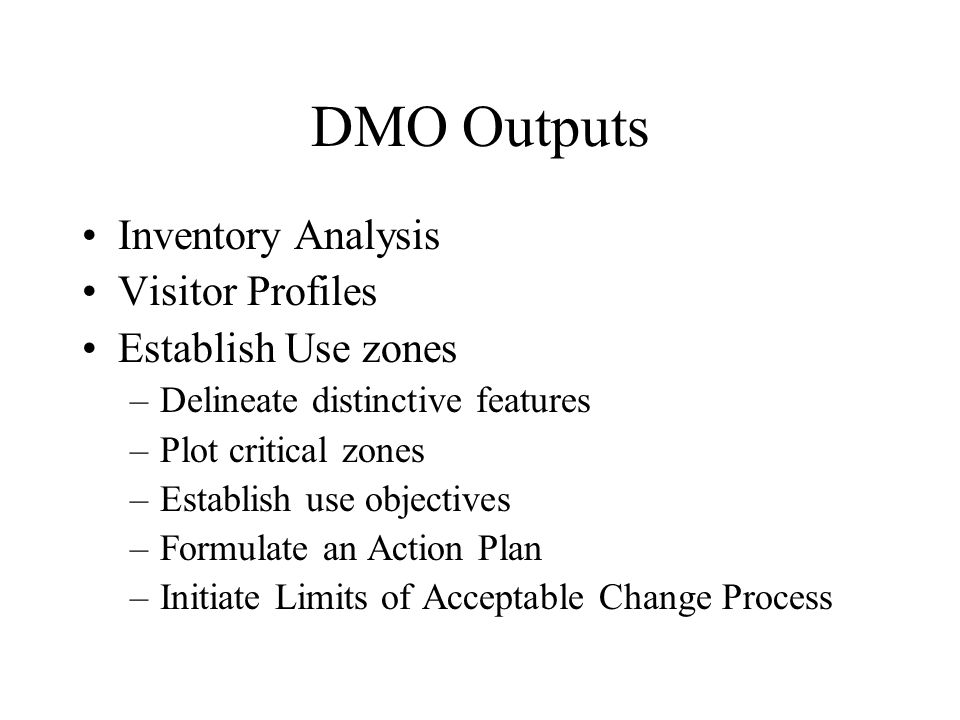DMO Outputs Inventory Analysis Visitor Profiles Establish Use zones