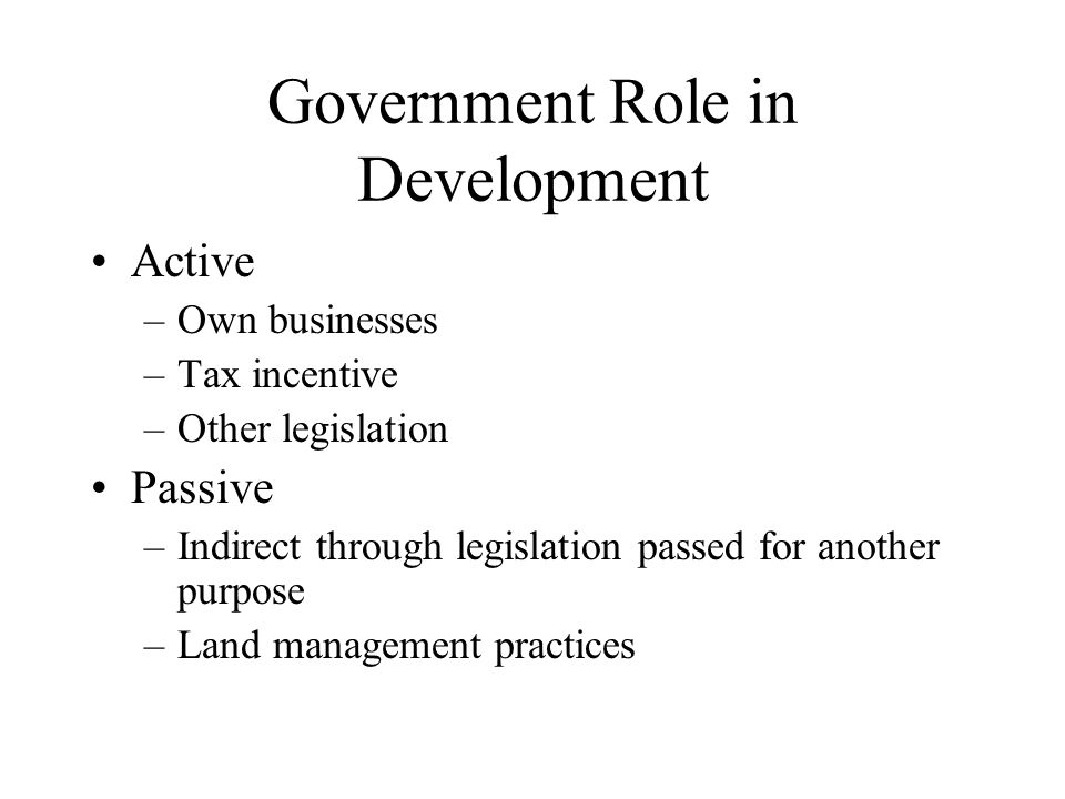 Government Role in Development