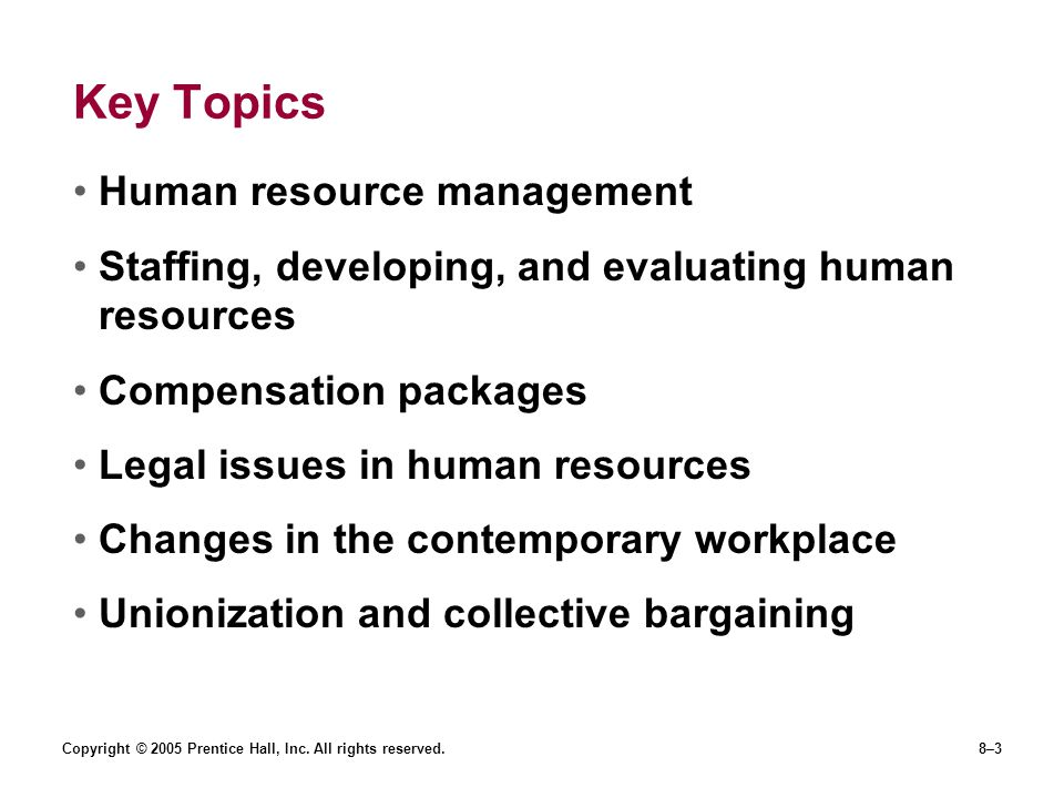 Key Topics Human resource management