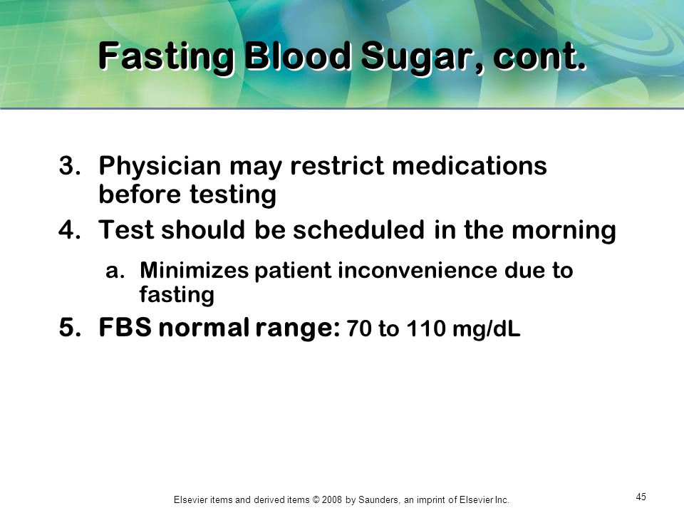 Fasting Blood Sugar, cont.