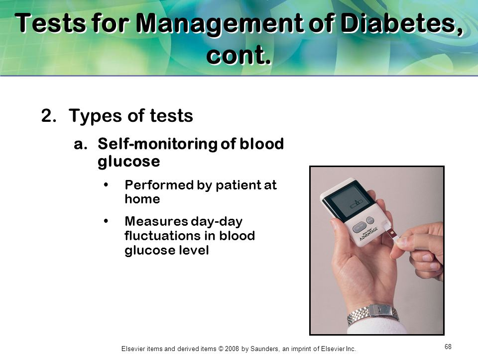 Tests for Management of Diabetes, cont.