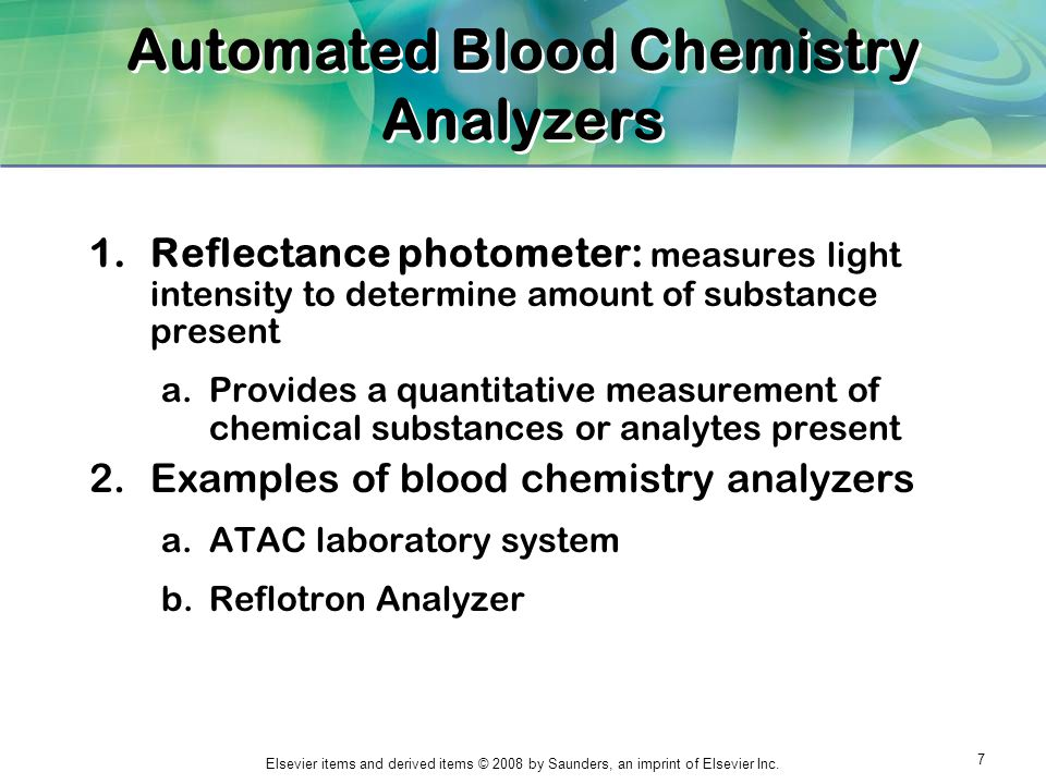 Automated Blood Chemistry Analyzers