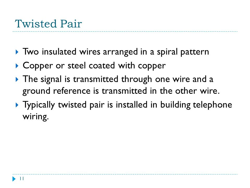 Twisted Pair Two insulated wires arranged in a spiral pattern