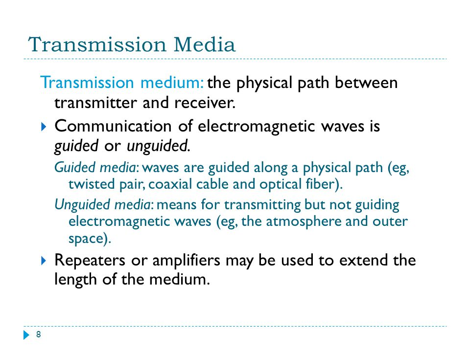 Transmission Media Transmission medium: the physical path between transmitter and receiver.