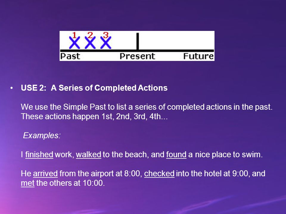 USE 2: A Series of Completed Actions We use the Simple Past to list a series of completed actions in the past.