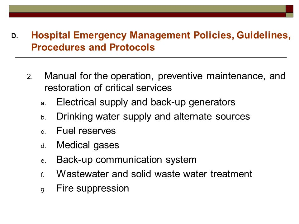Planning for Hospital Emergency Preparedness, Response and