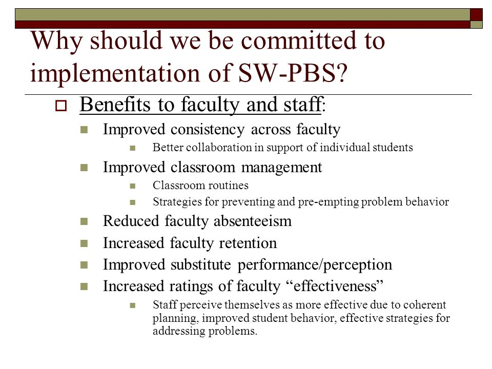 Why should we be committed to implementation of SW-PBS