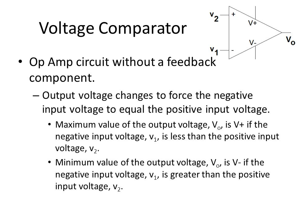 Voltage Comparator Op Amp circuit without a feedback component.