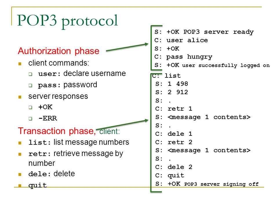 POP3 protocol Authorization phase Transaction phase, client: