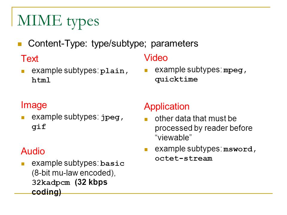 MIME types Content-Type: type/subtype; parameters Text Video Image