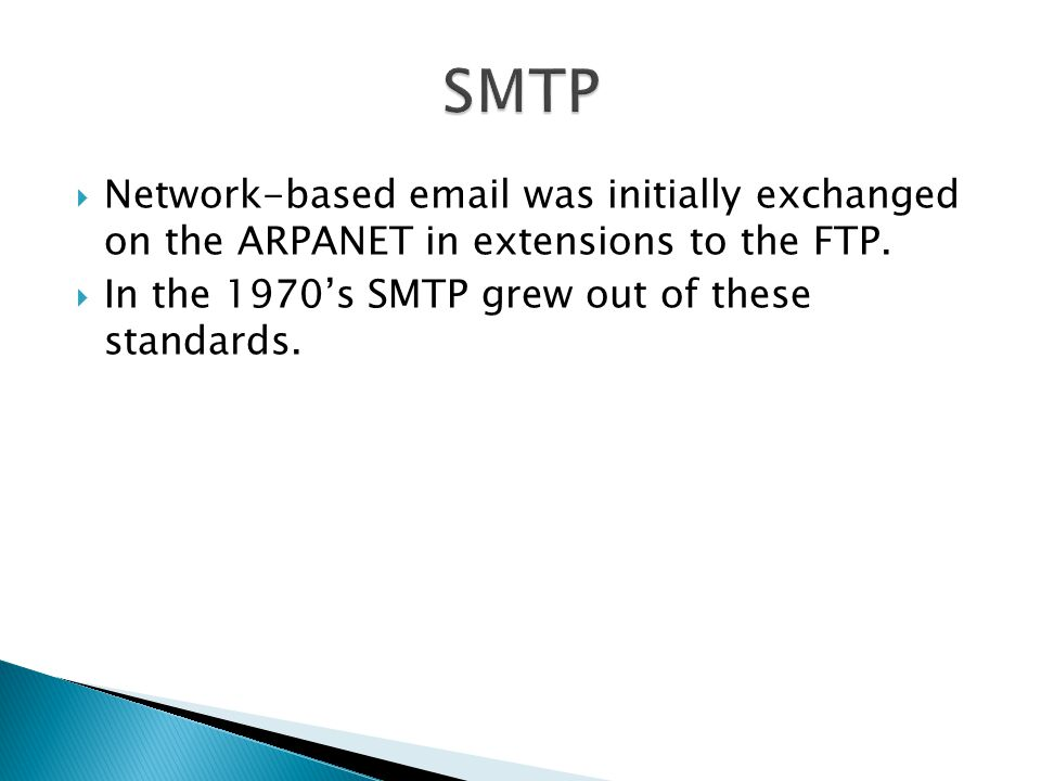 SMTP Network-based  was initially exchanged on the ARPANET in extensions to the FTP.