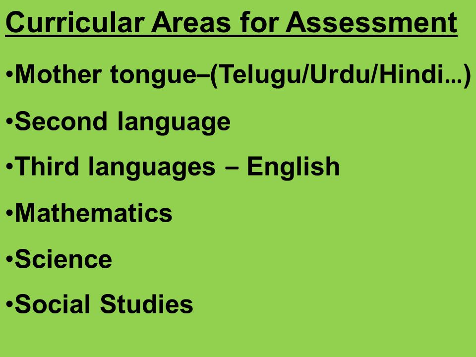 Curricular Areas for Assessment