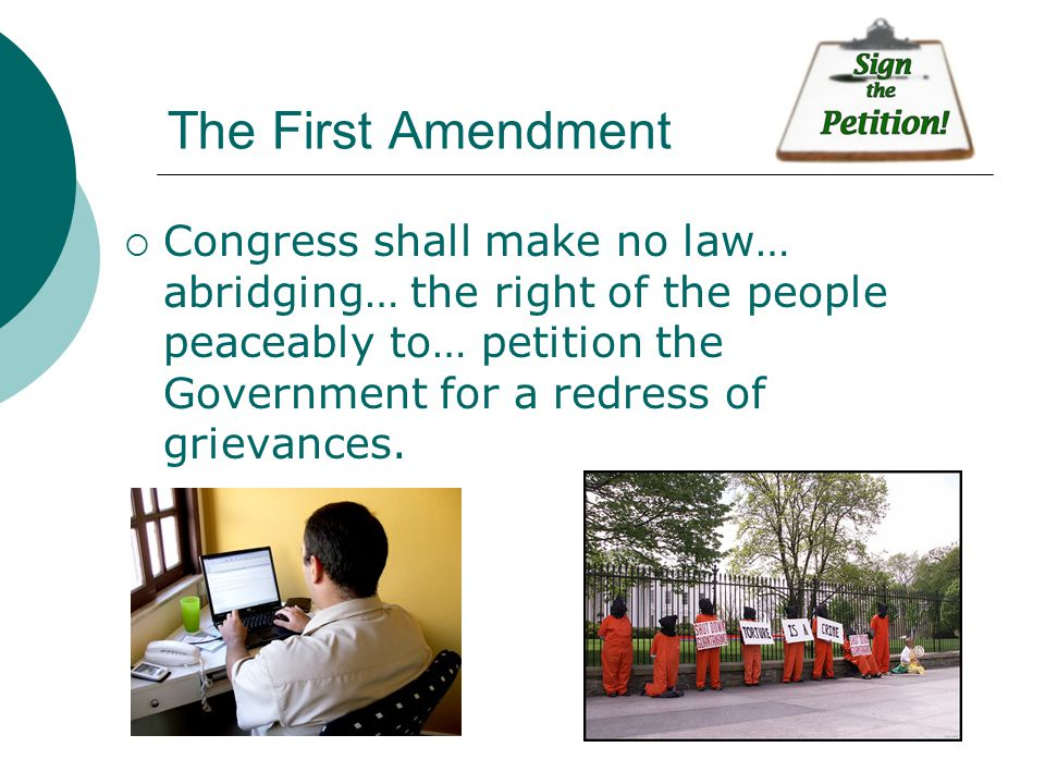 right to petition amendment amendments 1 10 the bill of rights ppt 9016