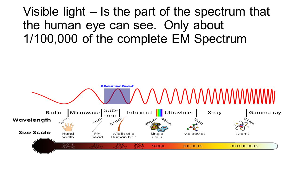 Visible light – Is the part of the spectrum that the human eye can see
