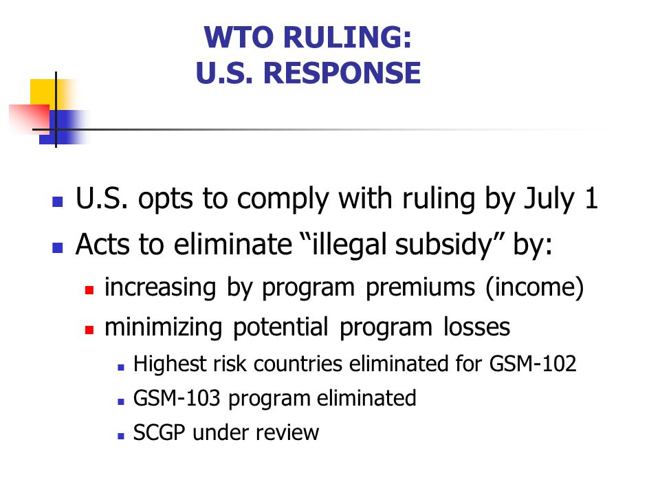 WTO RULING: U.S. RESPONSE
