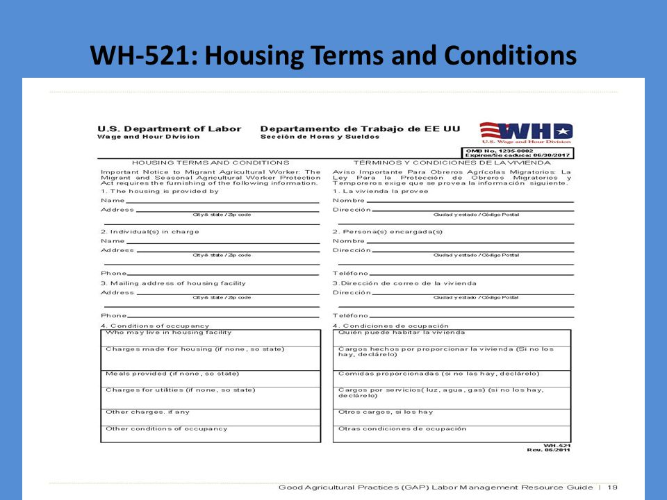 WH-521: Housing Terms and Conditions
