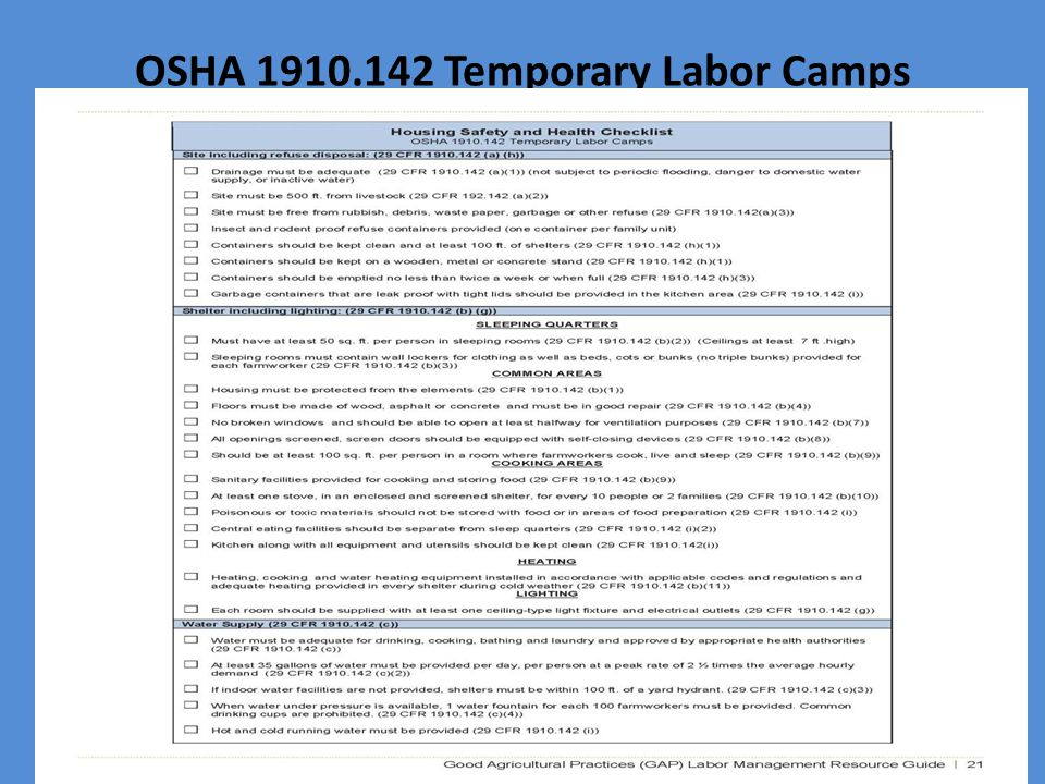 OSHA Temporary Labor Camps
