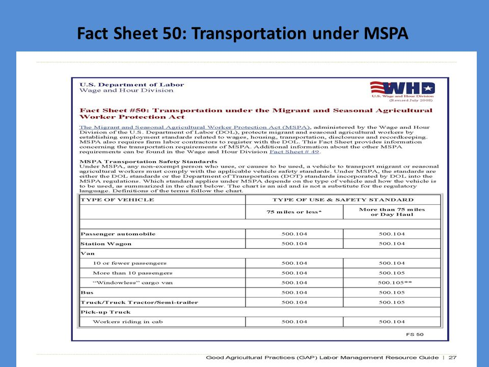 Fact Sheet 50: Transportation under MSPA