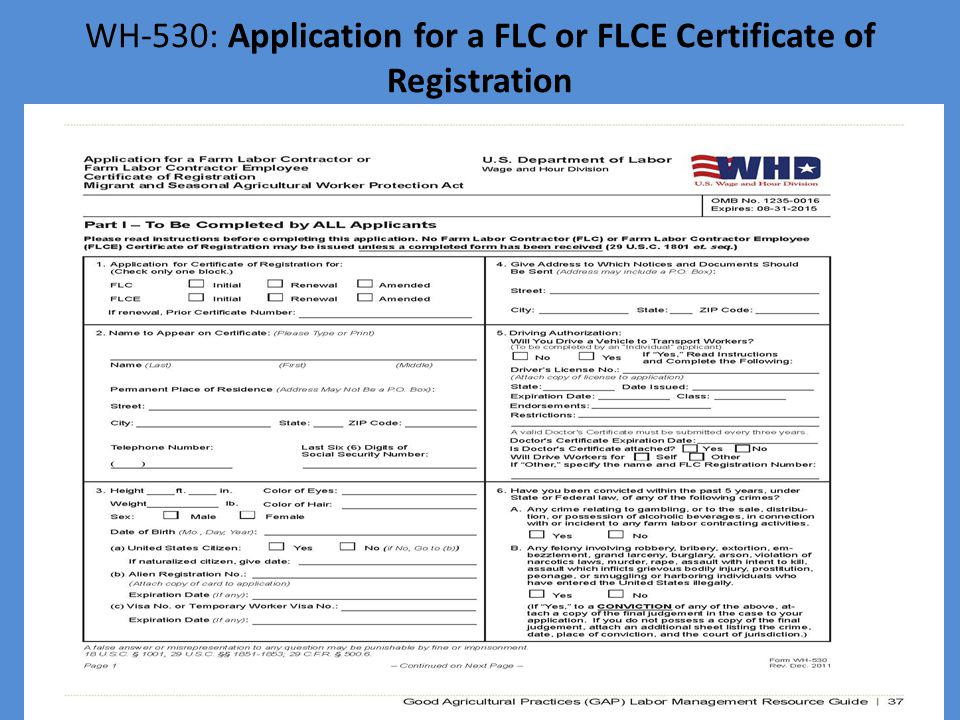 WH-530: Application for a FLC or FLCE Certificate of Registration