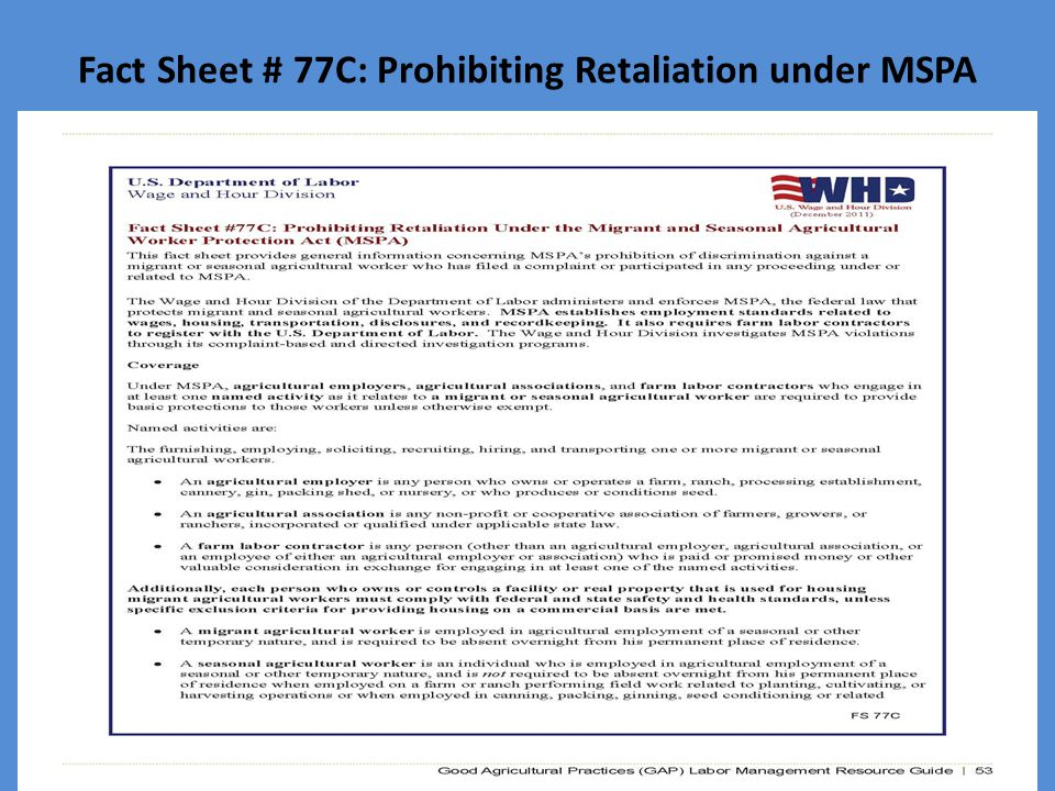 Fact Sheet # 77C: Prohibiting Retaliation under MSPA