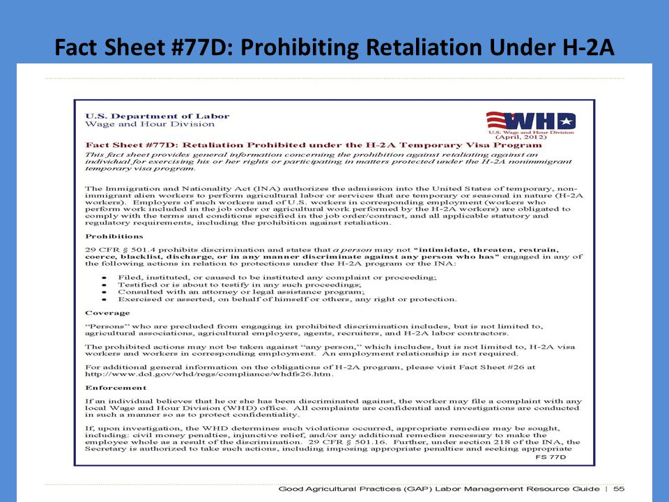 Fact Sheet #77D: Prohibiting Retaliation Under H-2A