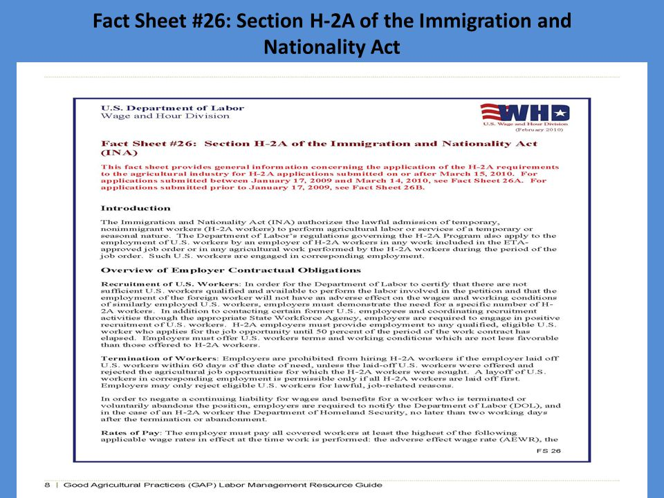 Fact Sheet #26: Section H-2A of the Immigration and Nationality Act