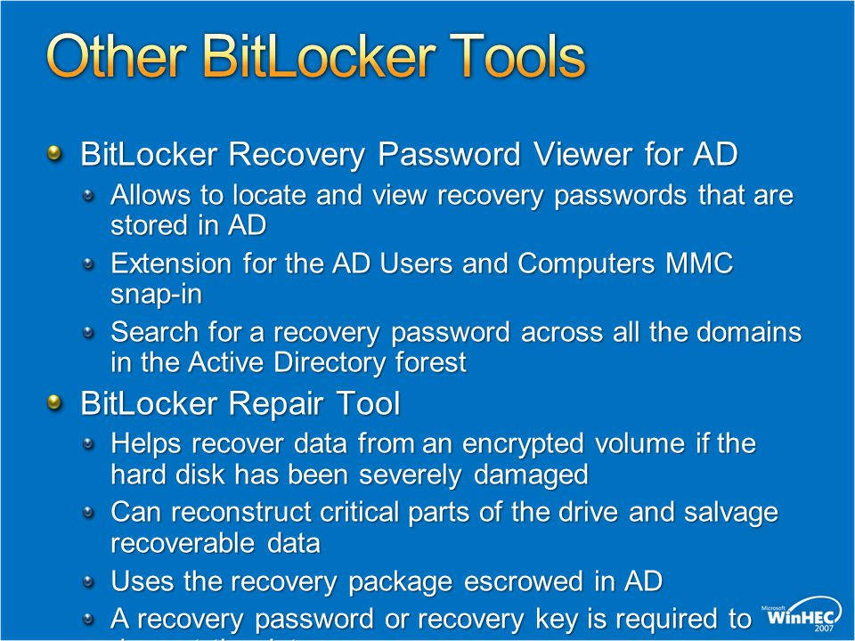 BitLocker™ Drive Encryption In The Enterprise - ppt download