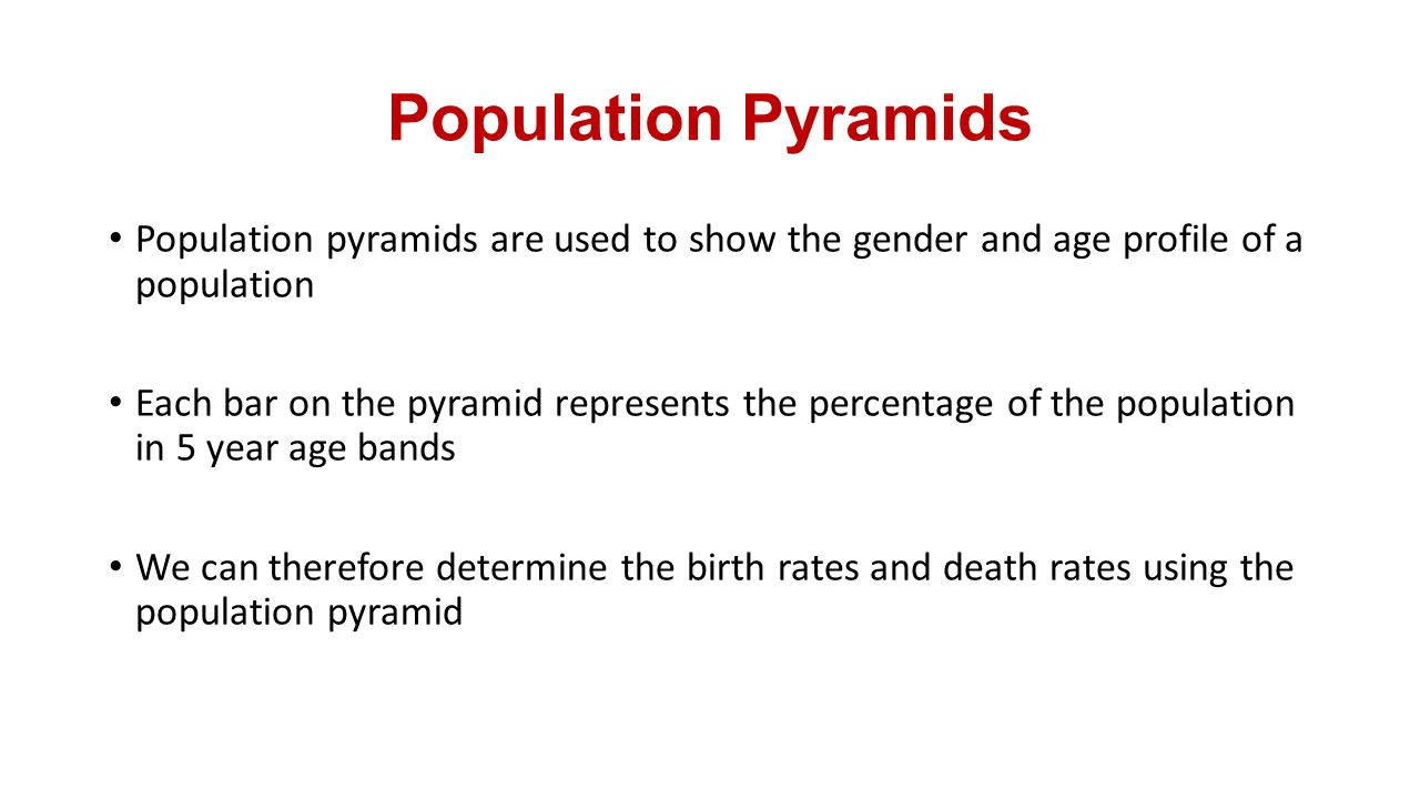 Population Pyramids Population pyramids are used to show the gender and age profile of a population.