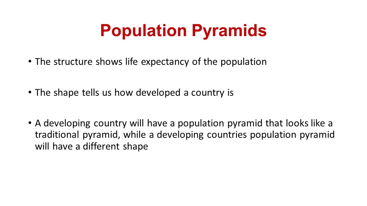 Population Pyramids The structure shows life expectancy of the population. The shape tells us how developed a country is.