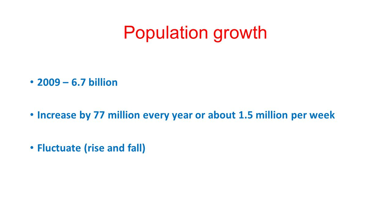Population growth 2009 – 6.7 billion
