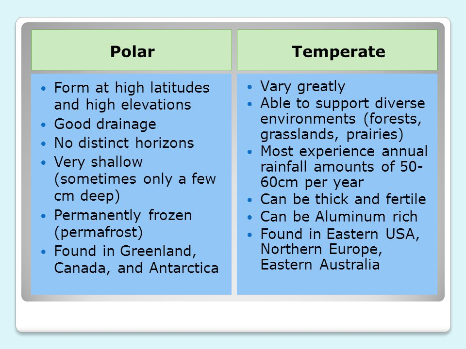Polar Temperate Form at high latitudes and high elevations