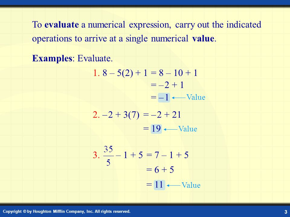 Example: Evaluate the Numerical Expression