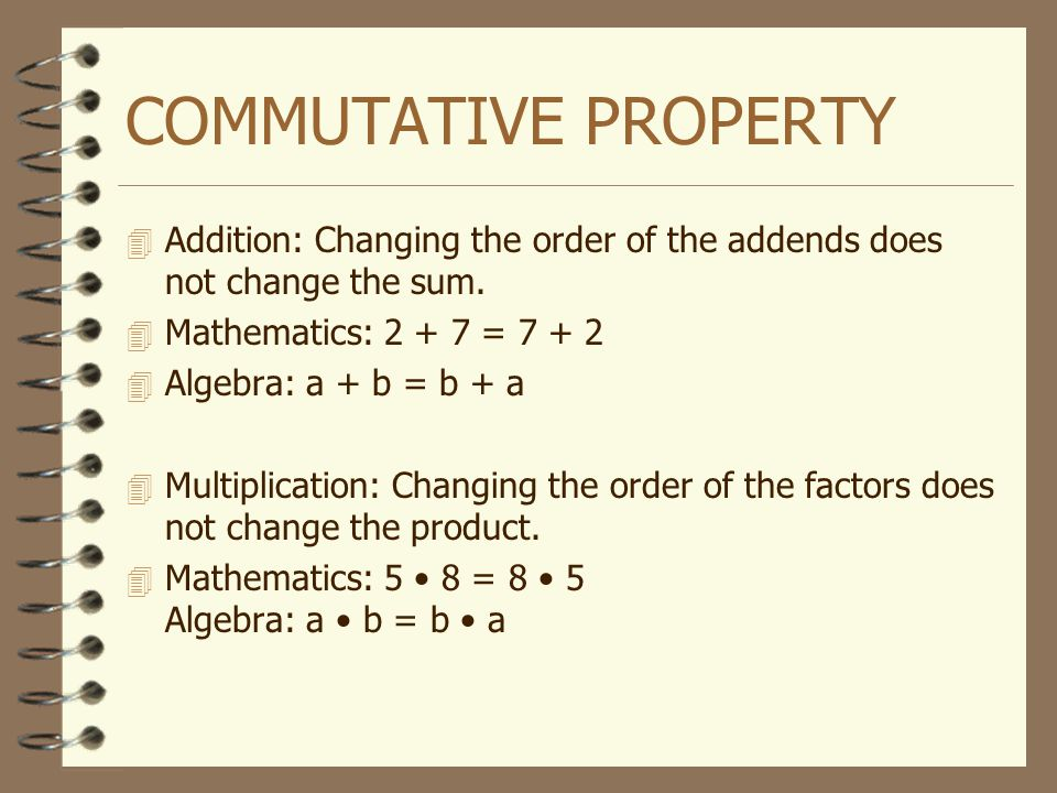 COMMUTATIVE PROPERTY Addition: Changing the order of the addends does not change the sum. Mathematics: =