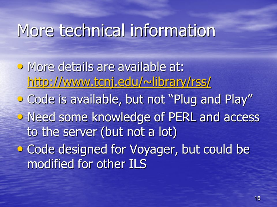 More technical information