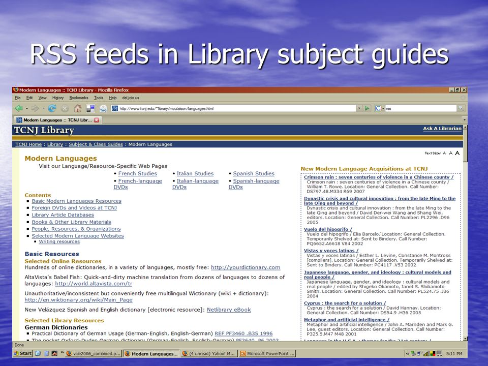 RSS feeds in Library subject guides