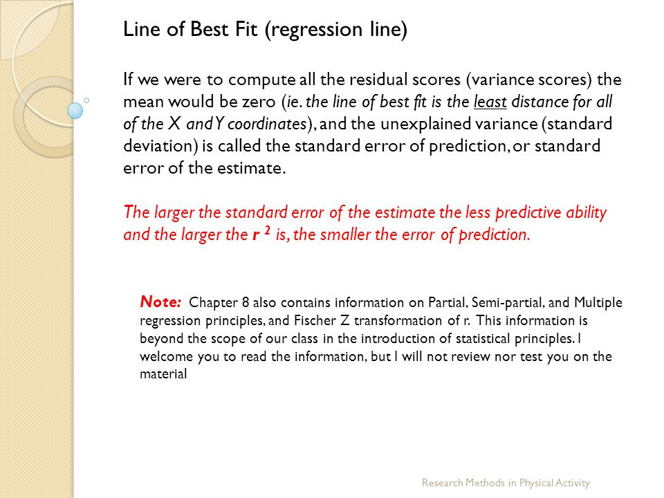 Line of Best Fit (regression line)