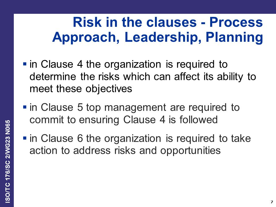 Risk in the clauses - Process Approach, Leadership, Planning