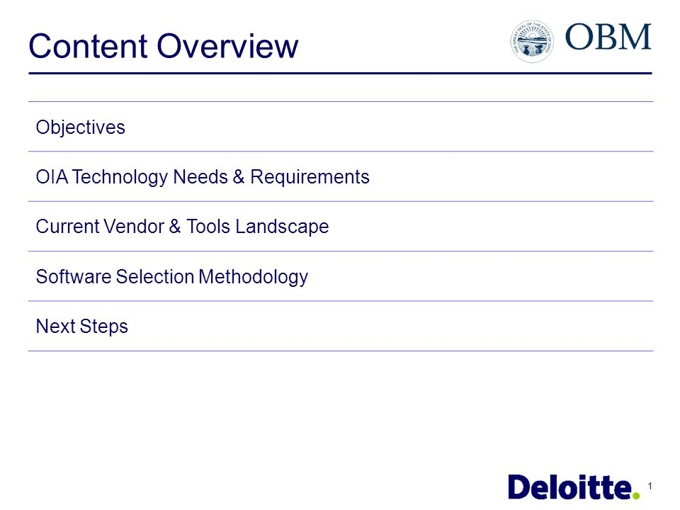 Content Overview Objectives OIA Technology Needs Requirements - Business requirements tools