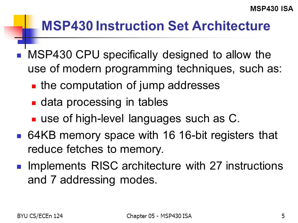 Chapter 5 Msp430 Isa The Instruction Set Ppt Download